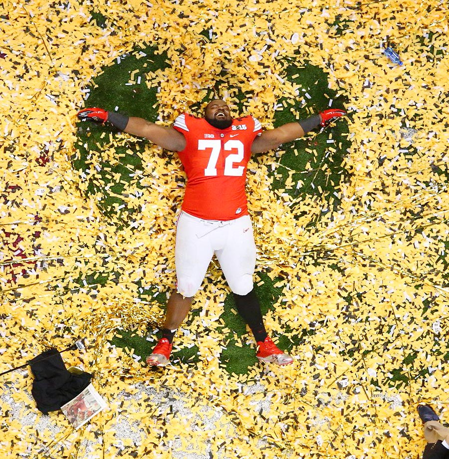 Chris Carter of Ohio State celebrates after his team's win against Oregon.