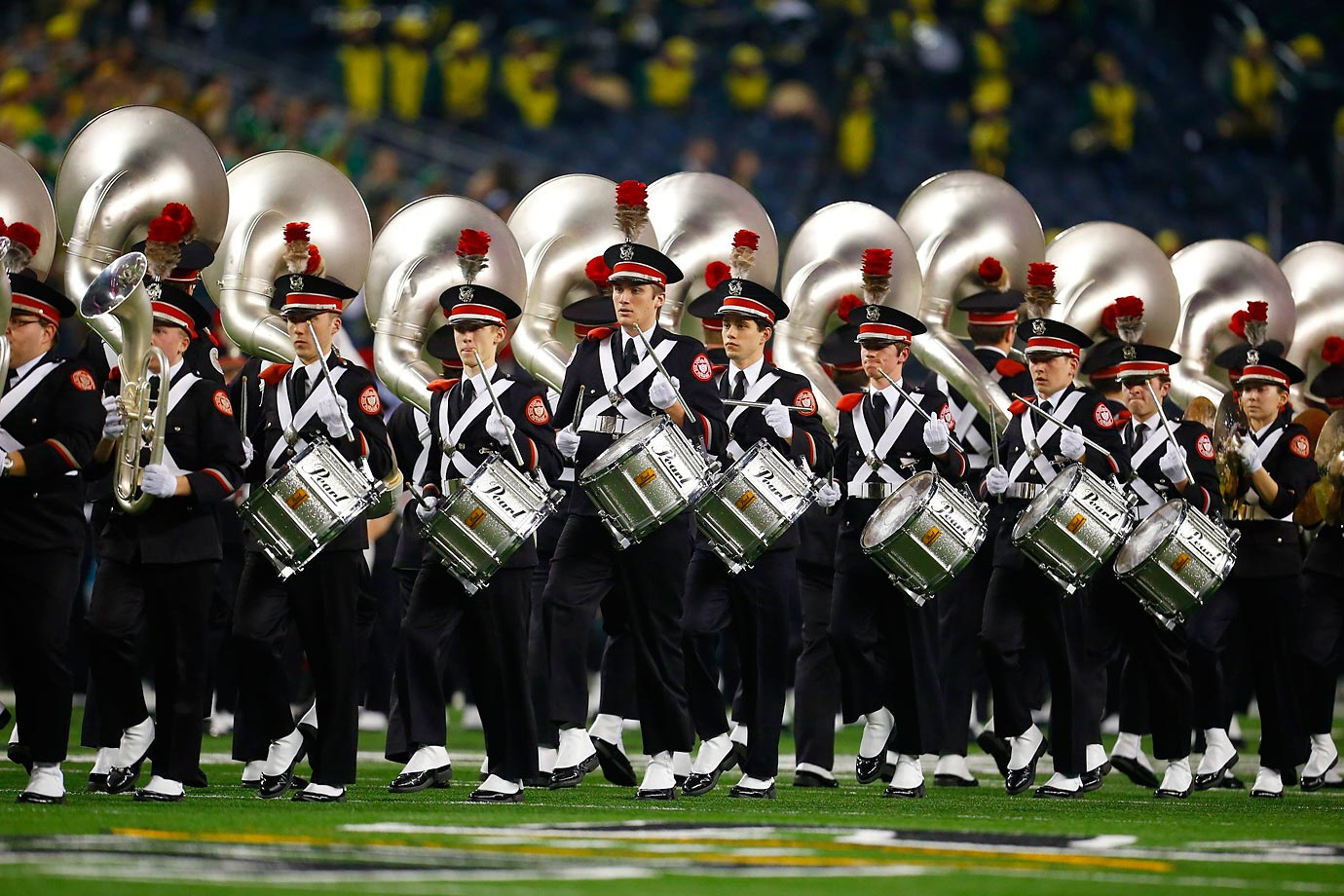 The Ohio State Buckeyes marching band performs.