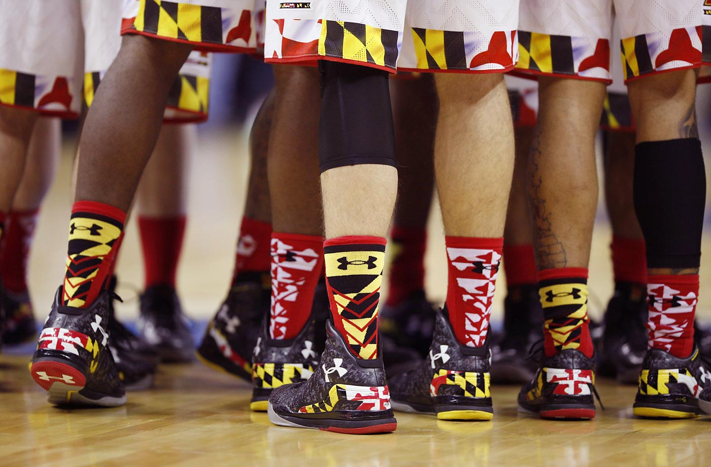 Maryland players brought out the shapes in their game against West Virginia.