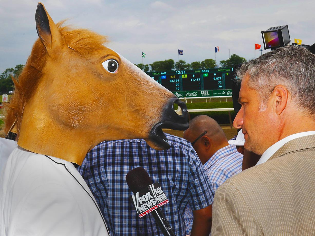 Fox News interviews one excited fan at the Belmont Stakes on June 6.