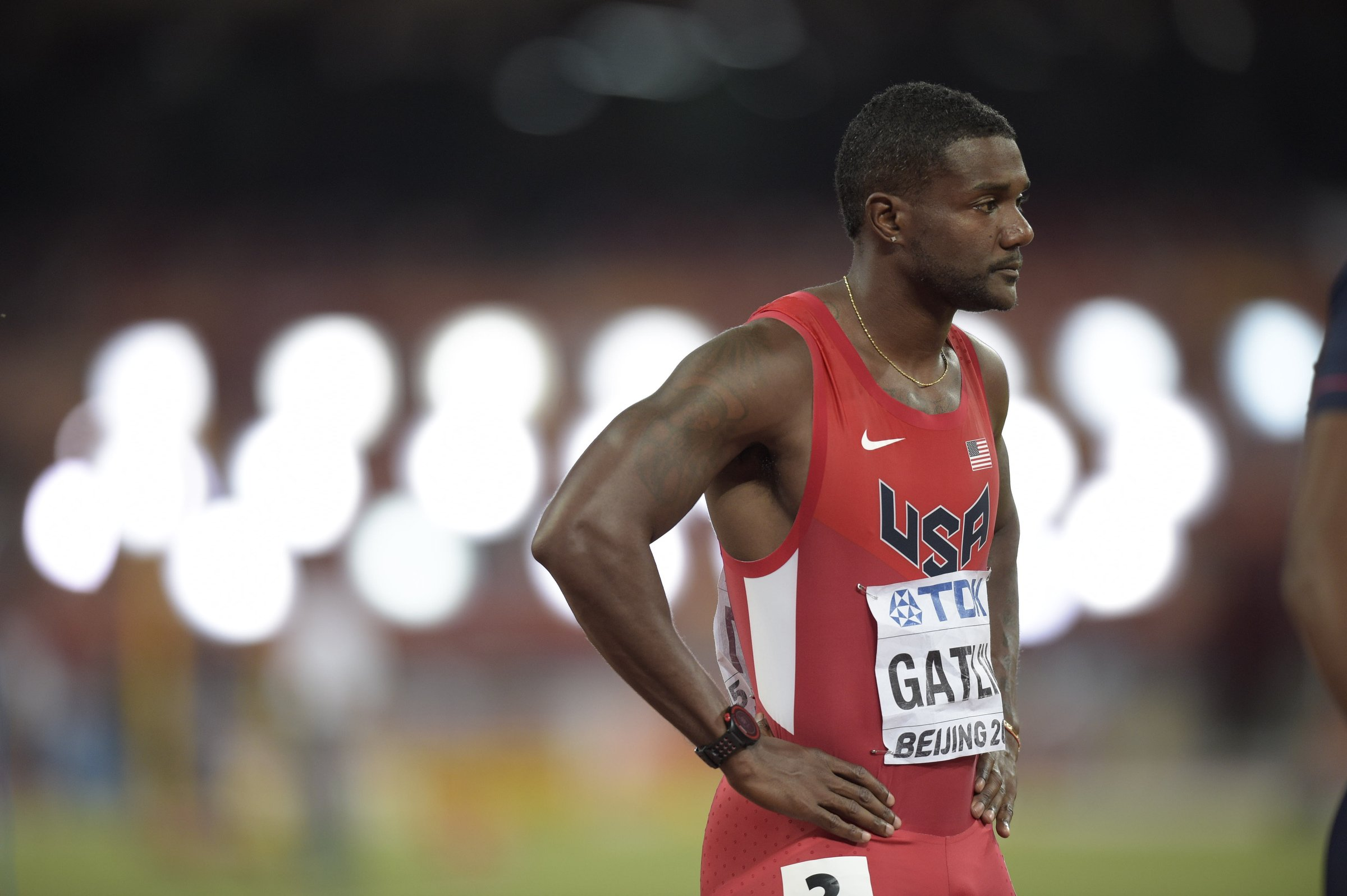 Justin Gatlin (USA) shifts his focus to the 200-meter run after taking silver in the 100-meter final behind Usain Bolt.