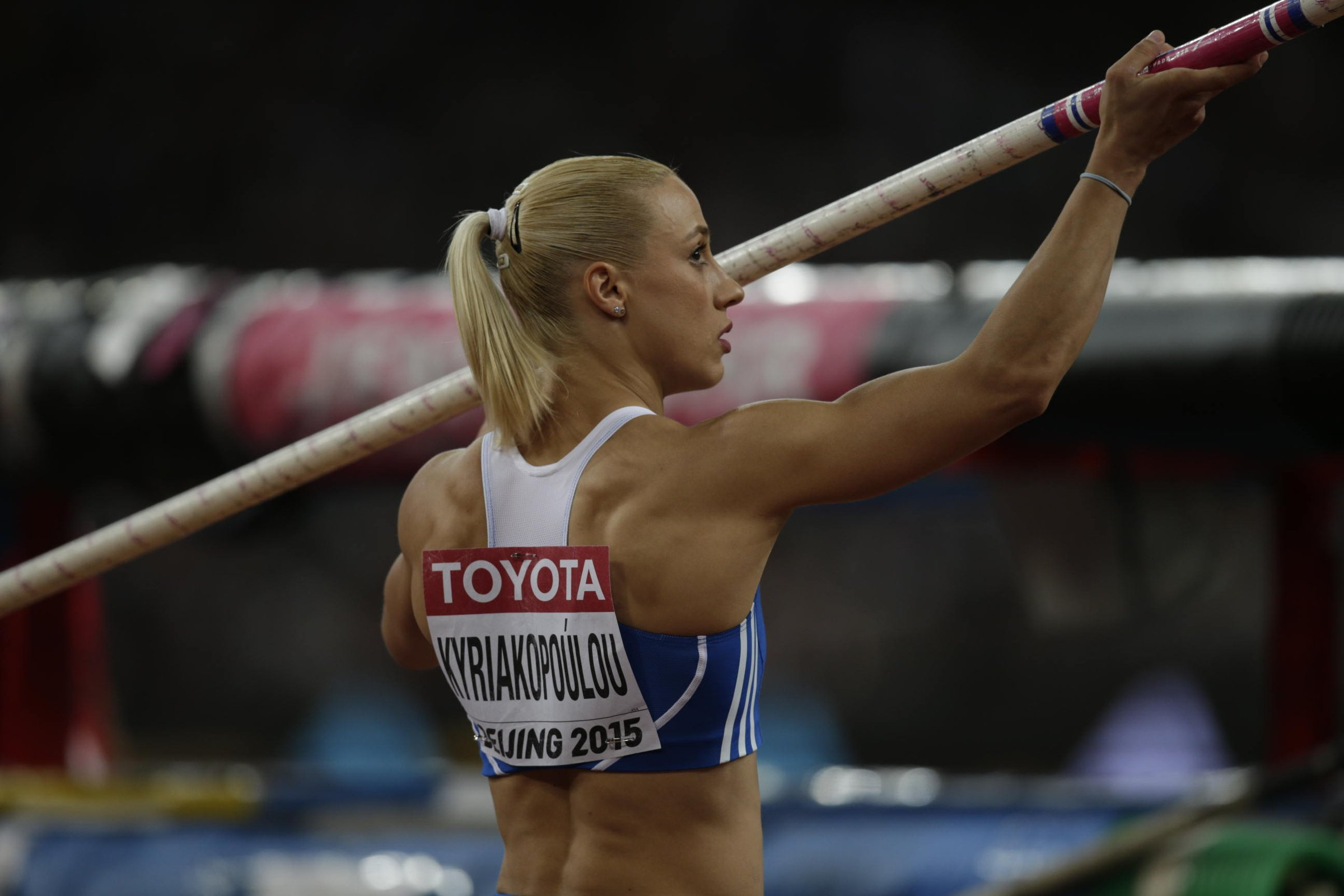 Nikoléta Kyriakopoulou of Greece gets ready for another attempt before winning a bronze medal.