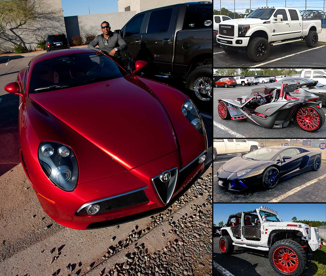 New York Mets outfielder Yoenis Cespedes showed off his collection of exotic cars as he arrived at the team's spring training facility each day for the first week of 2016 spring training in Port St. Lucie, Fla.