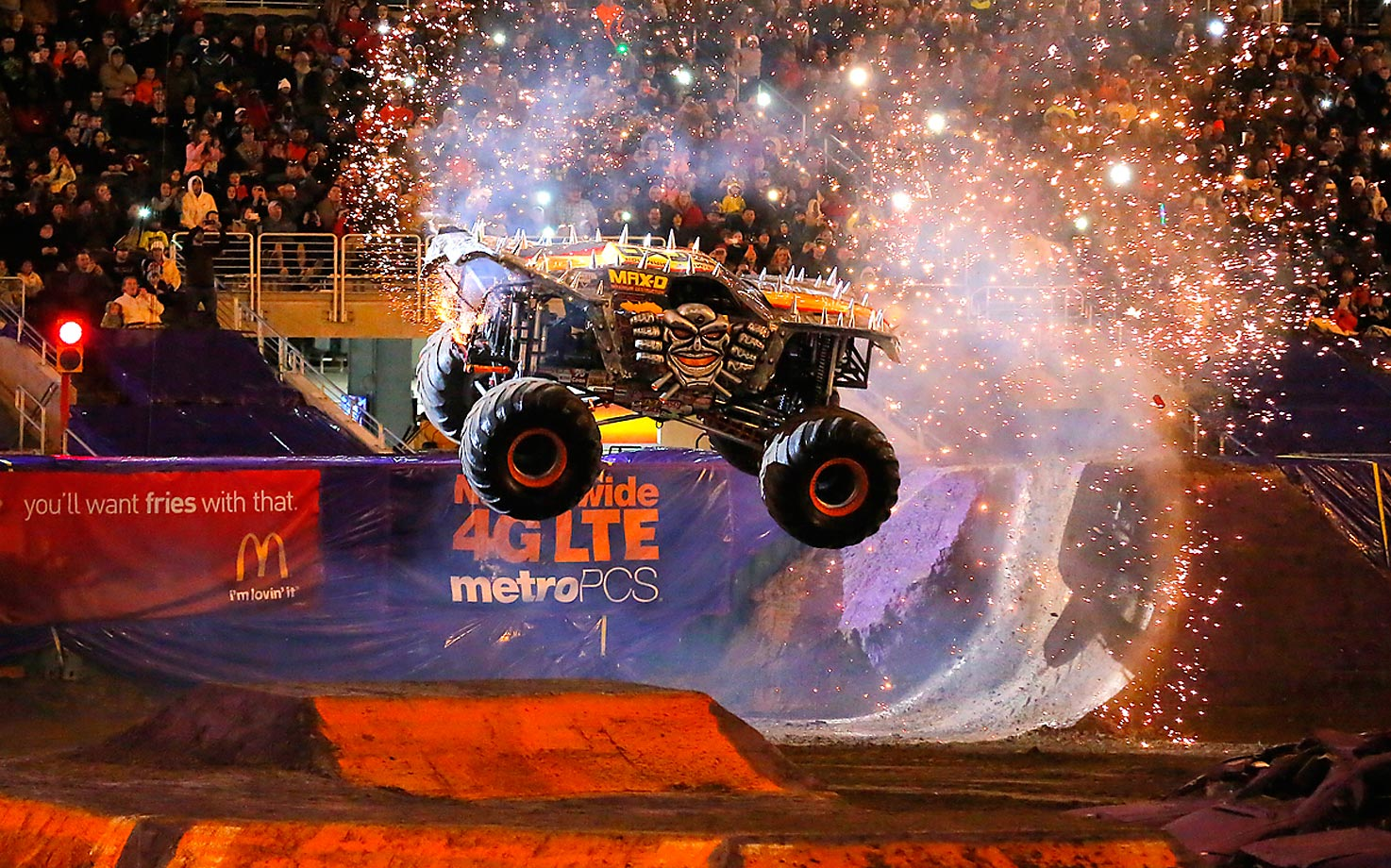 Maximum Destruction shows off a spectacular backflip during The Monster Jam at the Citrus Bowl in Orlando.
