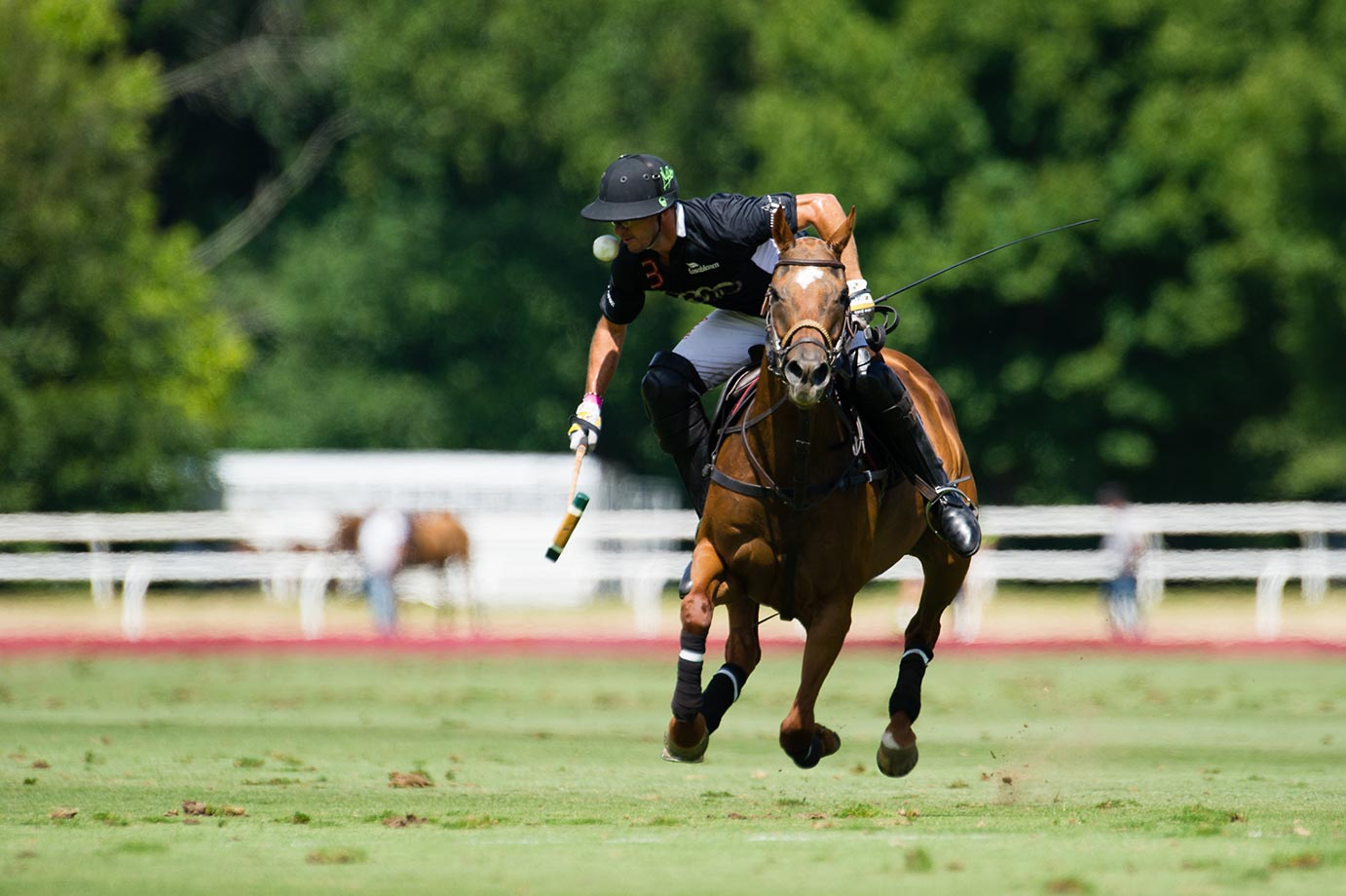 Nic Roldan, an American 8 goaler playing for the Audi Polo Team, gets a ball to the face in a match against Turkish Airlines in the USPA and Greenwich Polo Club's 2015 East Coast Open Tournament.  Audi won on penalty shots, 14-9.