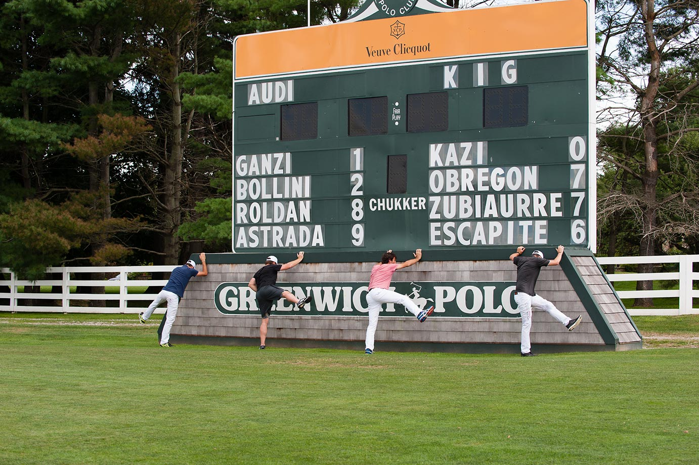 The Audi Polo Team warms up for its match against KIG—the first public match of the 2015 East Coast Open Polo Tournament.  From left to right are Nic Roldan, Marc Ganzi, Miguel Novilla Astrada and Juancito Bollini. Audi wins 11-6.