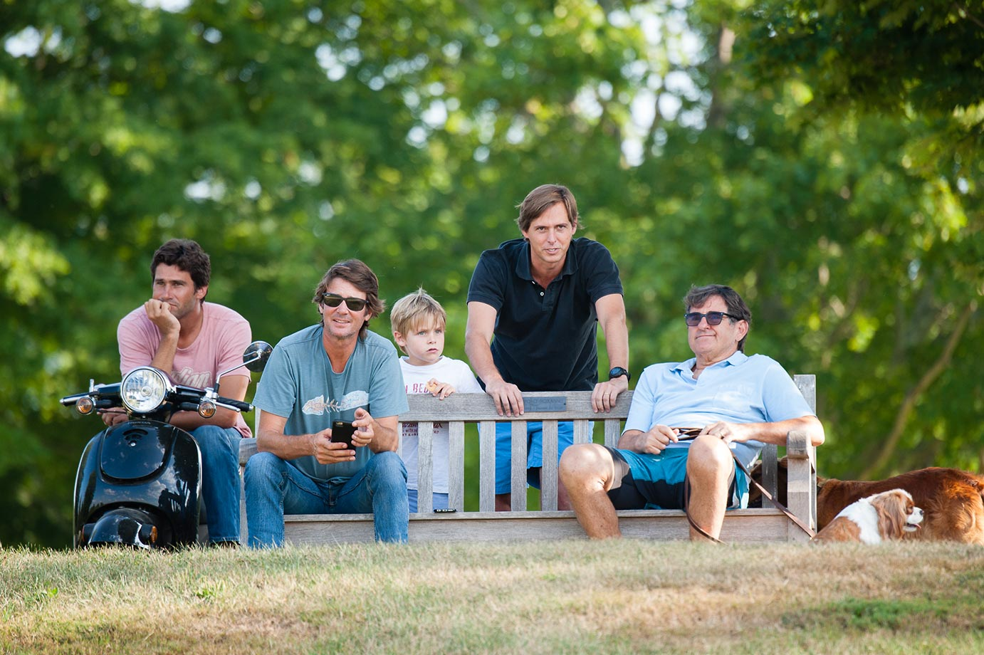 White Birch's Peter Brant and Hilario Ulloa watch the Airstream vs KIG 2015 East Coast Open match with McLaren's Nick Manifold, Tobi Ayersa and Ayersa's son.