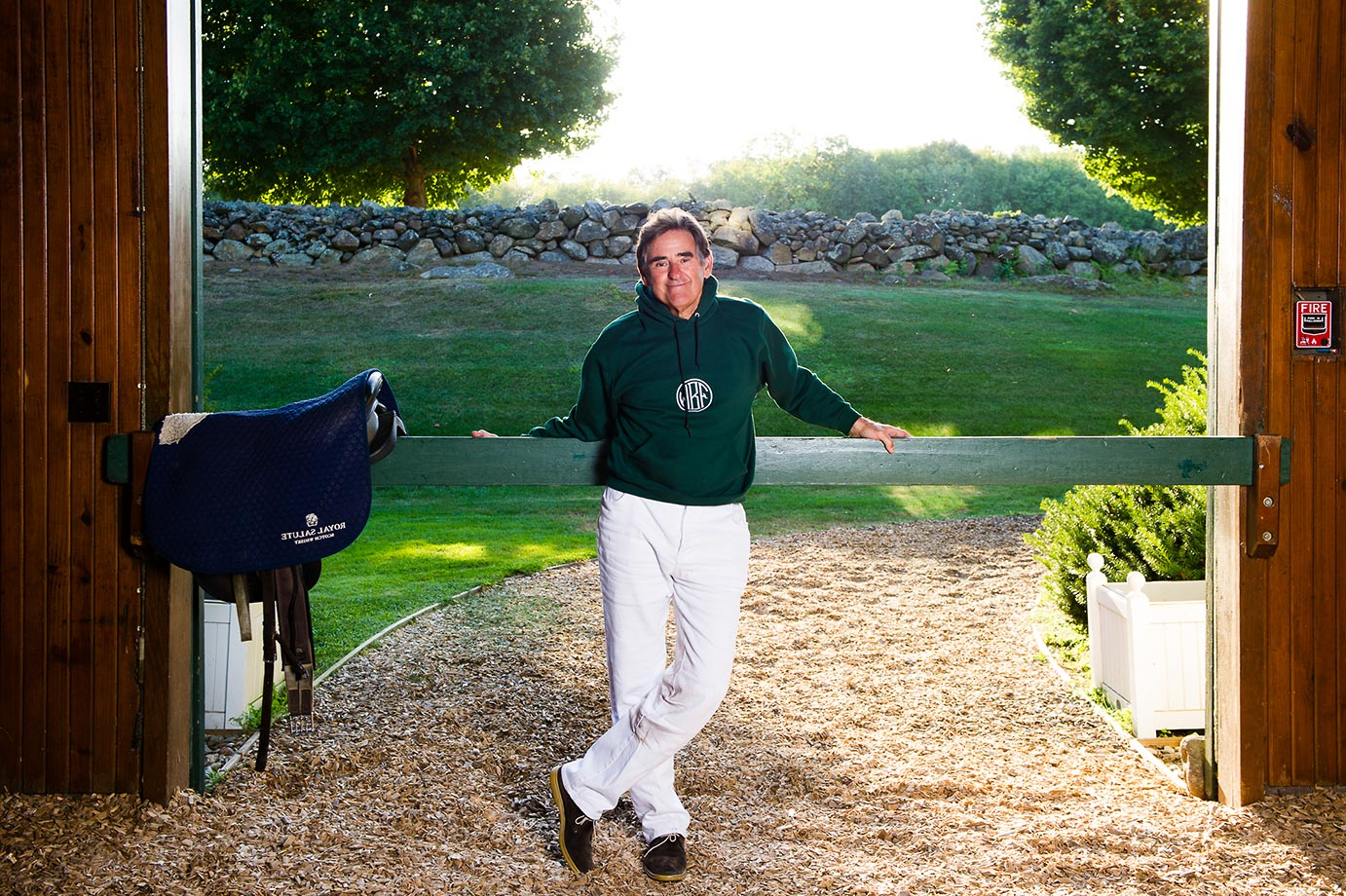 Peter Brant established the Greenwich Polo Club in 1981. It's the venue for high-goal polo during the summer season in the U.S. Peter is also the Patron of the White Birch Polo Team. Here he is at his White Birch Farm in Greenwich, CT, where he used to raise race horses and now breeds and stables his polo ponies.