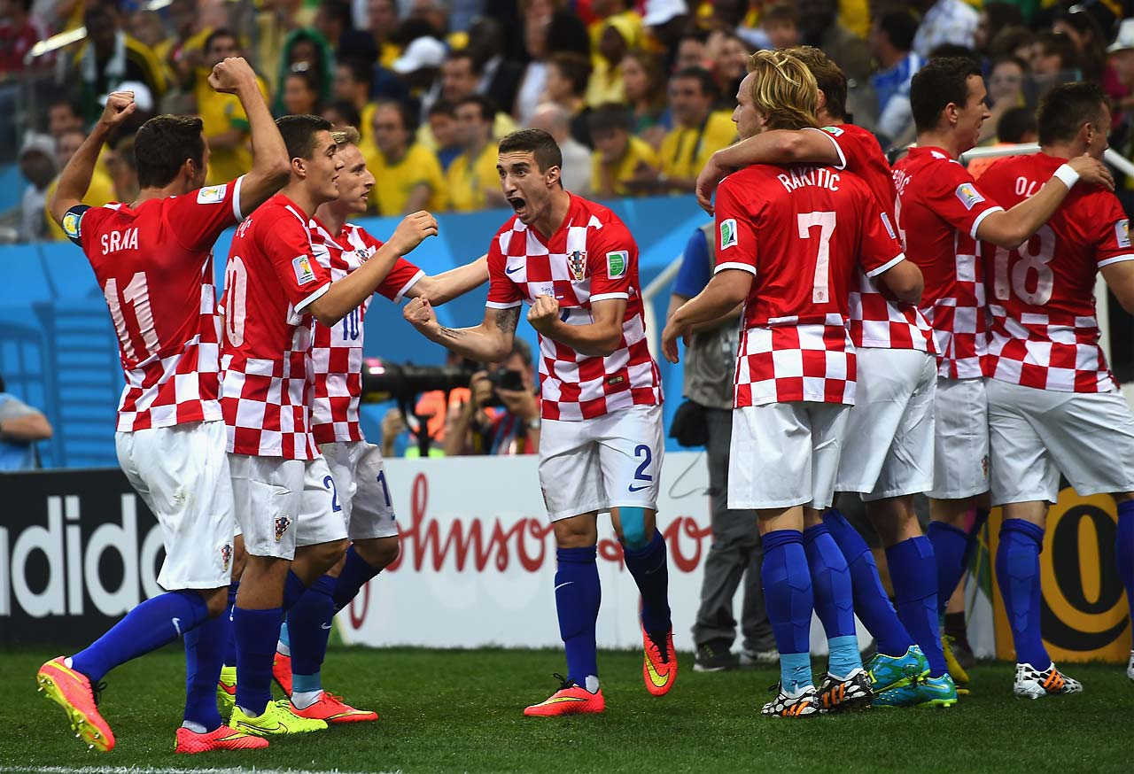 Sime Vrsaljko of Croatia shows his joy along with teammates after the first goal was scored in the 2014 World Cup.
