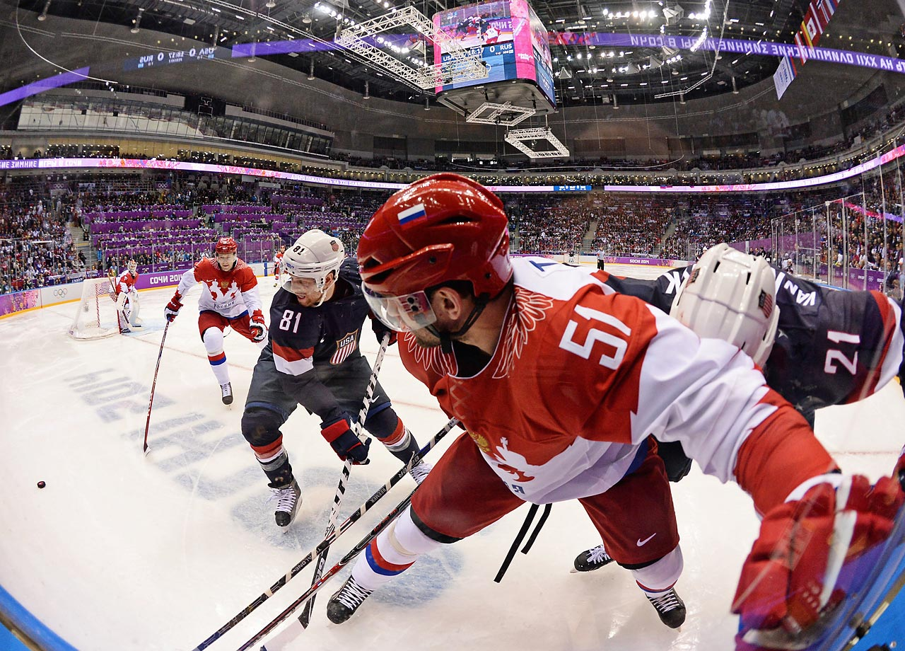The matchup between the United States and Russia on Saturday may have lacked the political tension that engulfed the game in 1980, but the Sochi version was still teeming with intensity on the ice.
