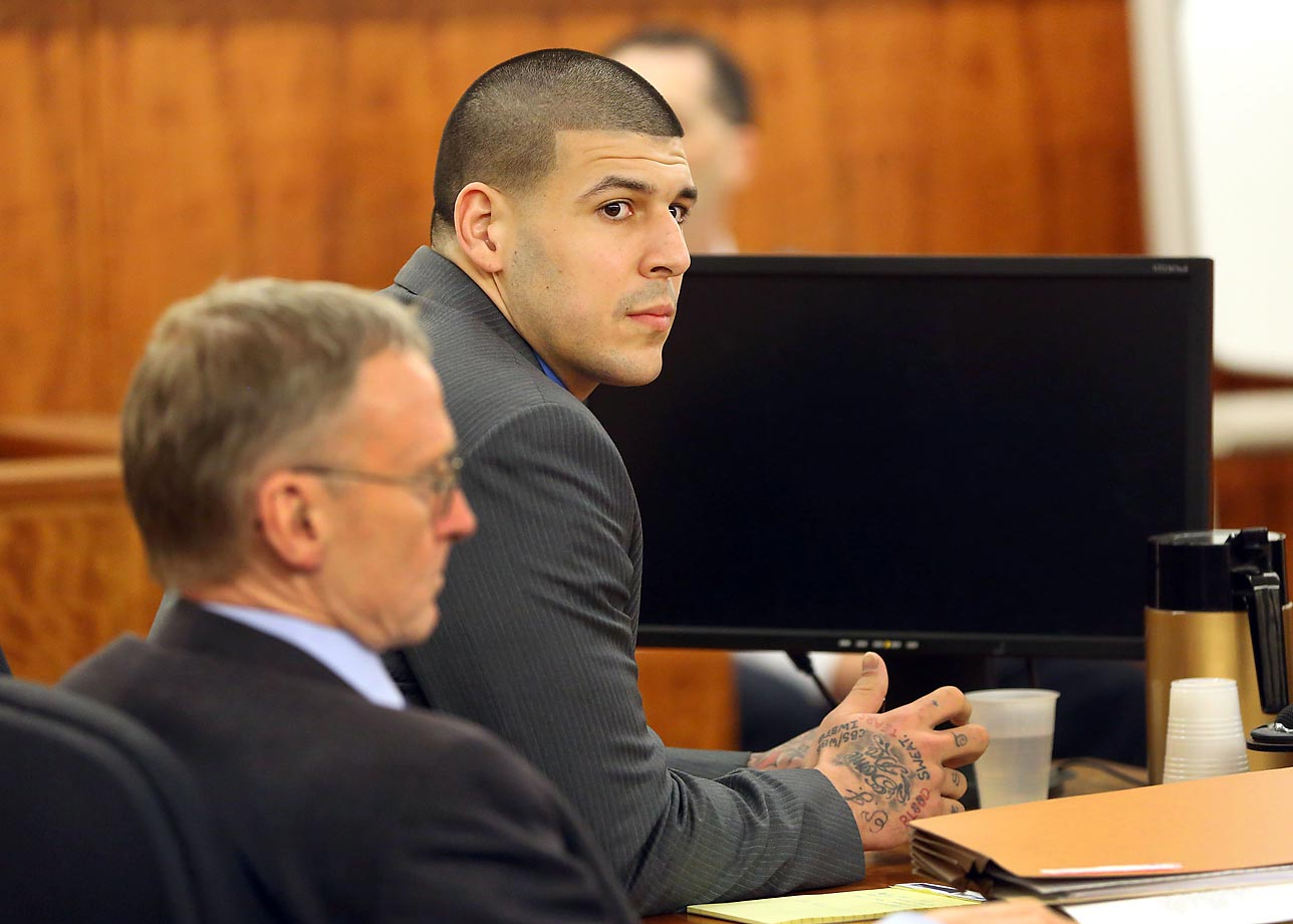 On April 16, former Patriots tight end Aaron Hernandez was convicted for the murder of Odin Lloyd. A jury found Hernandez guilty of first-degree murder, unlawful possession of a firearm and unlawful possession of ammunition. He was sentenced to life in prison without the possibility of parole.                                       (Text credit: Alex Putterman/SI.com)