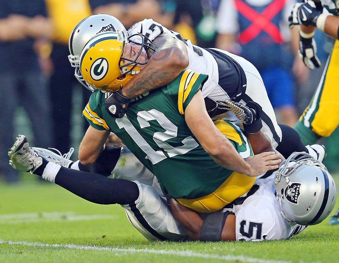LaMarr Woodley and Nick Roach of the Raiders sacked Packers quarterback Aaron Rodgers in the first quarter of their game on August 22, but Green Bay went on to win, 31-21.  Rodgers threw for two touchdowns.