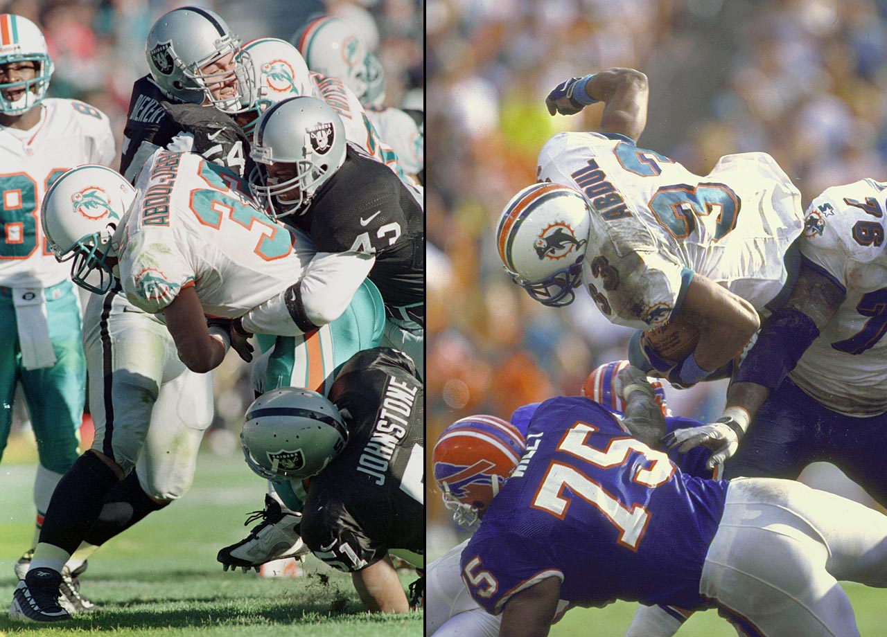 In college, future Dolphin Sharmon Shaw, a Muslim, received the name Karim Abdul-Jabbar from his Imam. But the NBA's Kareem sued the tailback -- also using No. 33 -- and won a lawsuit forcing him to change his name on the grounds that he was profiting off someone else's identity.