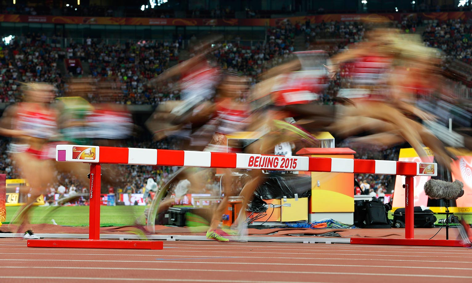 Blur action from the women's 3000m steeplechase final at the World Athletics Championships.