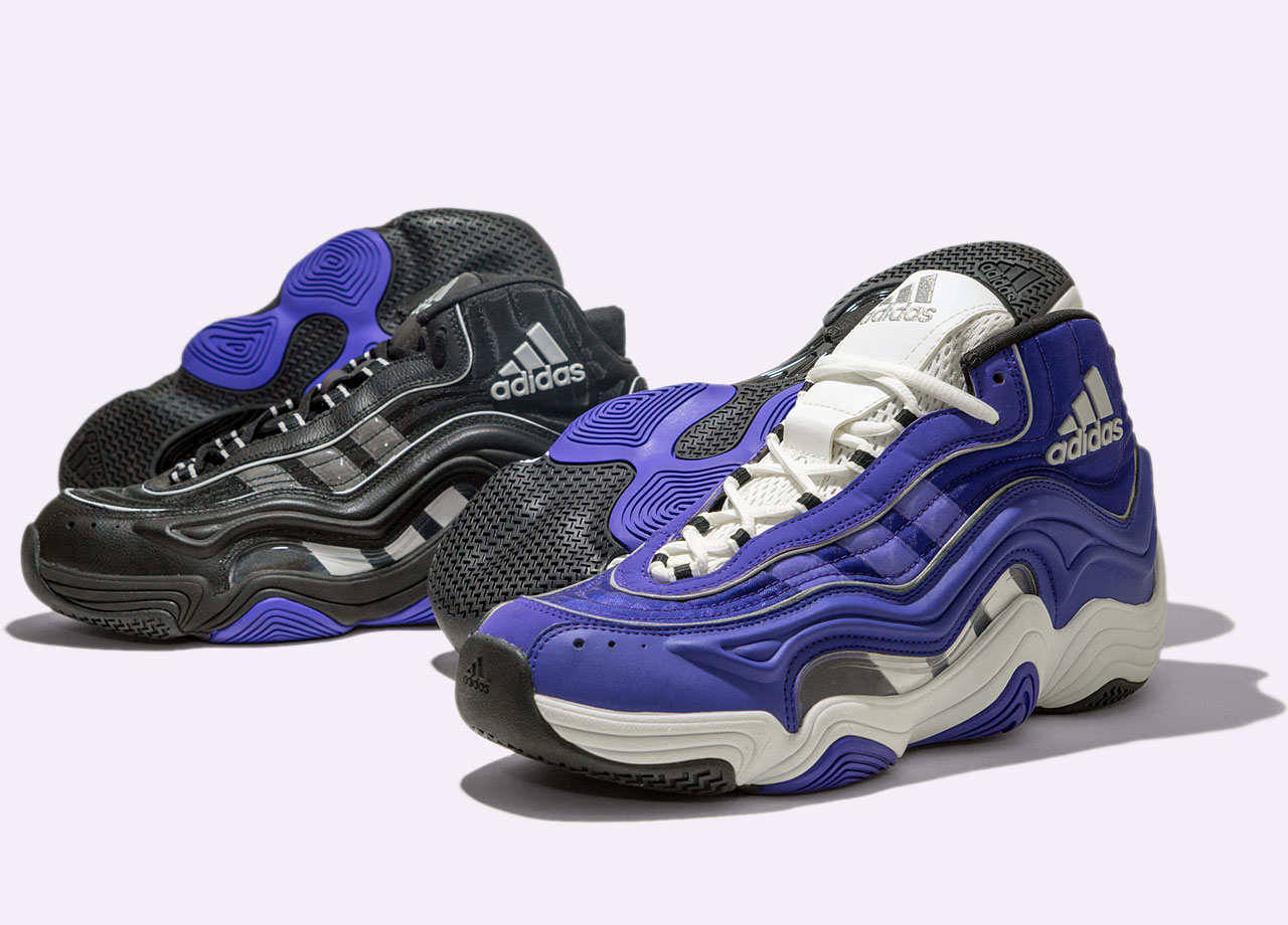 While some of the original boldness was played down, nothing quite says '90s style as the 1998-released second signature for Kobe. While known as the Crazy 2, the exaggerated features included a wave-shaped upper molding, see-through mesh to highlight the three stripe logo and a herringbone outsole pattern.