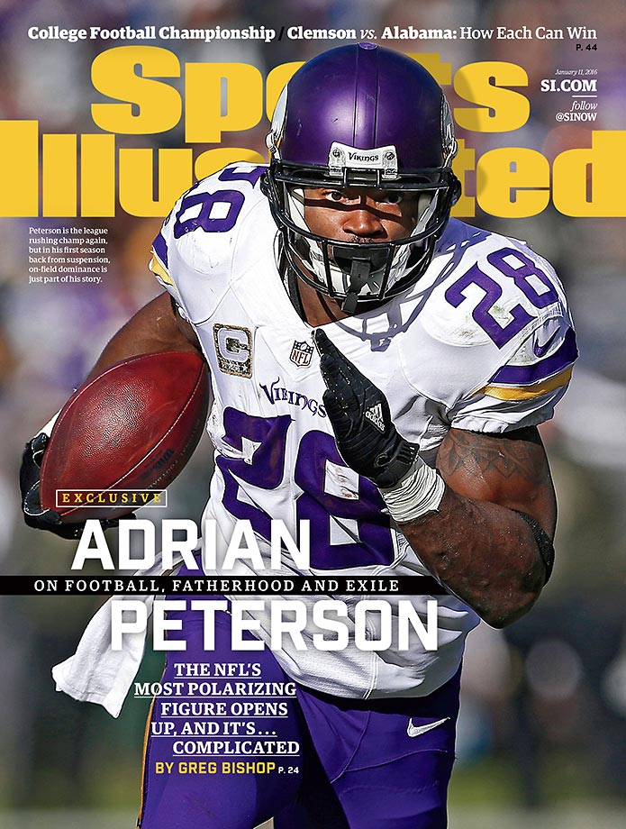 Sixteen months after being indicted by a grand jury on child abuse charges, Adrian Peterson leads the NFL in rushing and propels the Vikings to a NFC North division title.