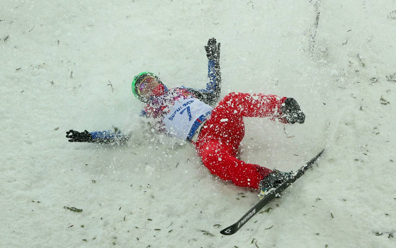 Travis Gerrits of Canada had this wipeout in the aerial competition.