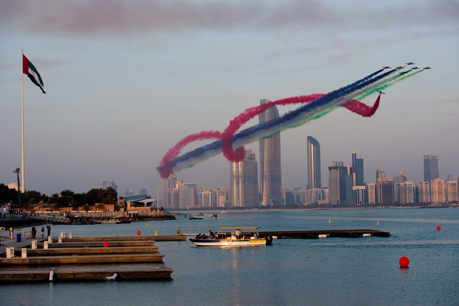 United Arab Emirates Aerobatic Team Al Fursan puts on a show after the Red Bull Air Race World Championship.