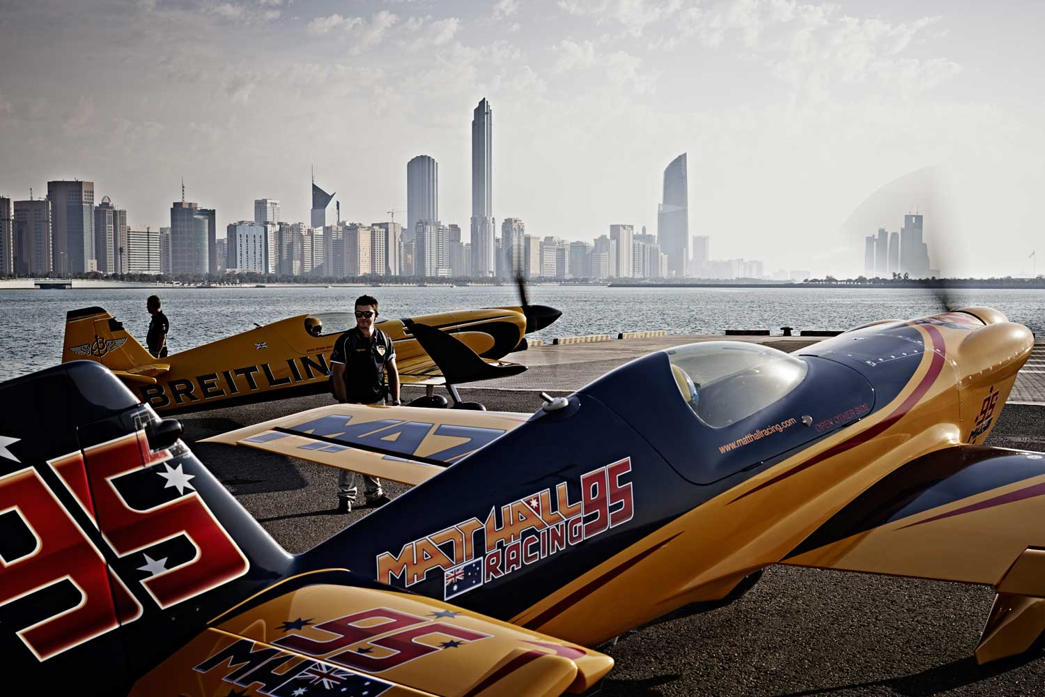 Australian pilot Matt Hall gets ready for his flight during the first stage of the Red Bull Air Race World Championship.