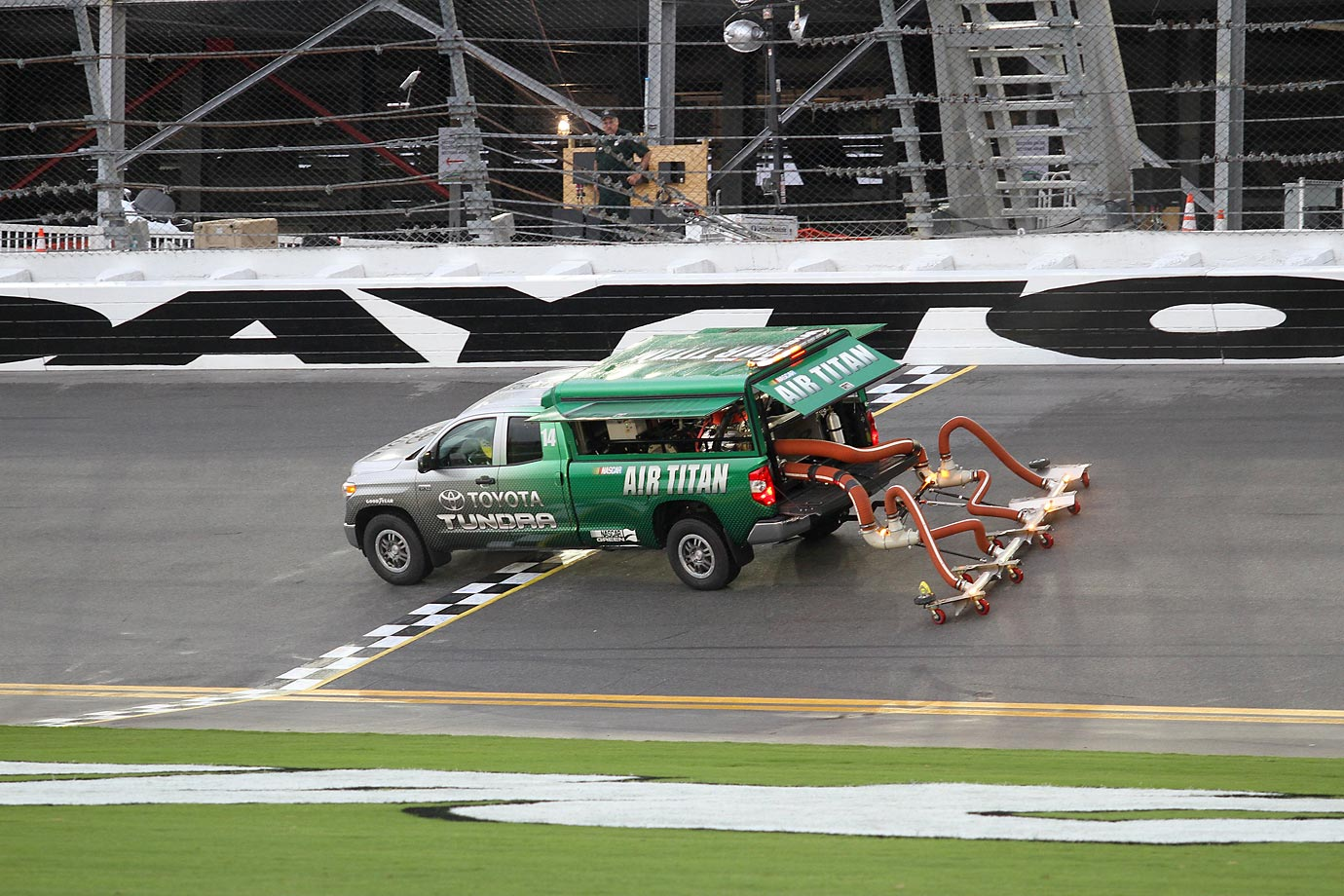 The Air Titan truck dries the track before the Xfinity Series Subway Firecracker 250 race in Daytona.