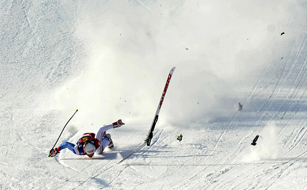 Switzerland's Daniel Albrecht crashes in front a finish area in Kitzbuhel in 2009.