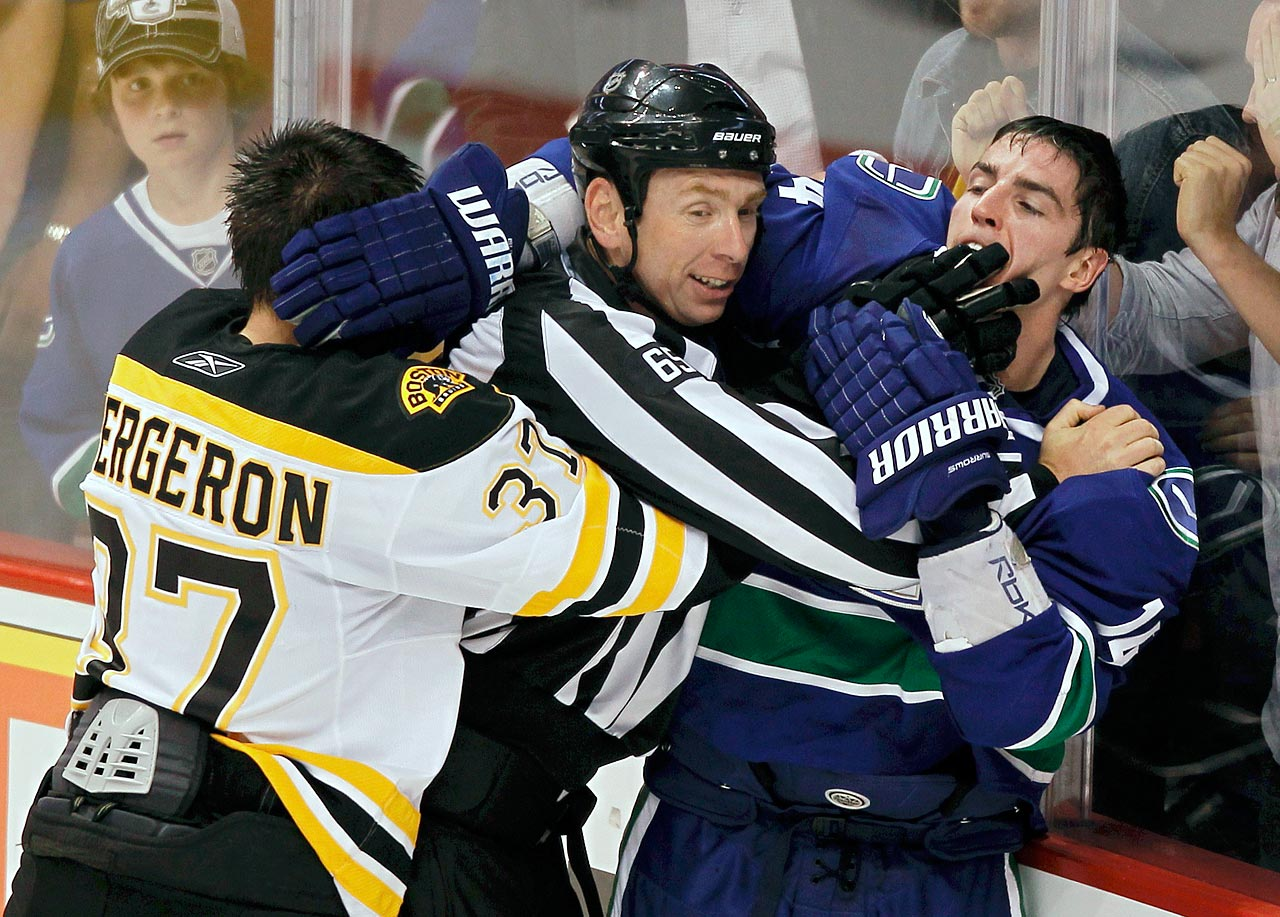 "Canucks winger Alex Burrows appeared to bite the right finger of Bruins center Patrice Bergeron during the first game of the 2011 Stanley Cup finals. Bergeron was seen wearing a bandage on his finger after the game. Mike Murphy, the NHL's Senior Vice President of Operations, announced the following day that Burrows would not be suspended for the incident. ""After reviewing the incident, including speaking with the on-ice officials, I can find no conclusive evidence that Alex Burrows intentionally bit the finger of Patrice Bergeron,"" Murphy wrote in a release issued by the NHL."