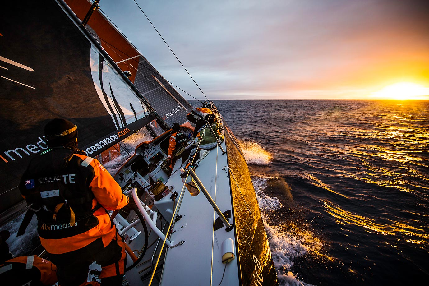 Sunrise on board Alvimedica on Day 24 of the Volvo Ocean Race 2014-15.  It's the 12th running of this ocean marathon.