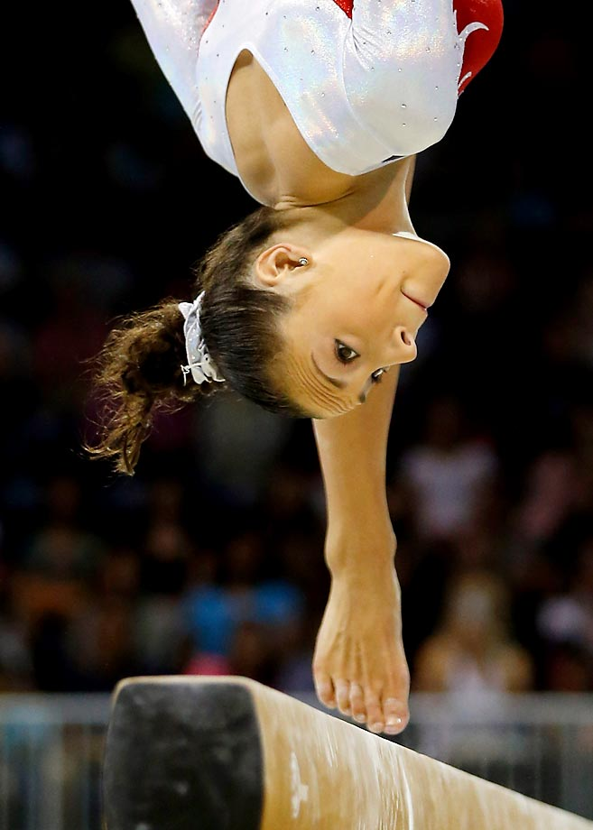 Amelia Hundley of the U.S. competes on the balance beam during the artistic gymnastics team final and qualifications on Day 2 of the Toronto 2015 Pan Am Games.