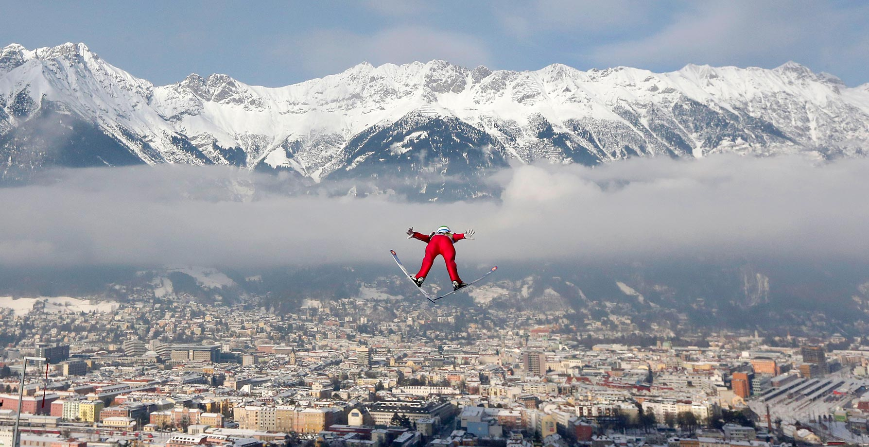 Norway's Anders†Jacobsen soars during the trial jump at the third stage of the four hills ski jumping tournament in Innsbruck, Austria.