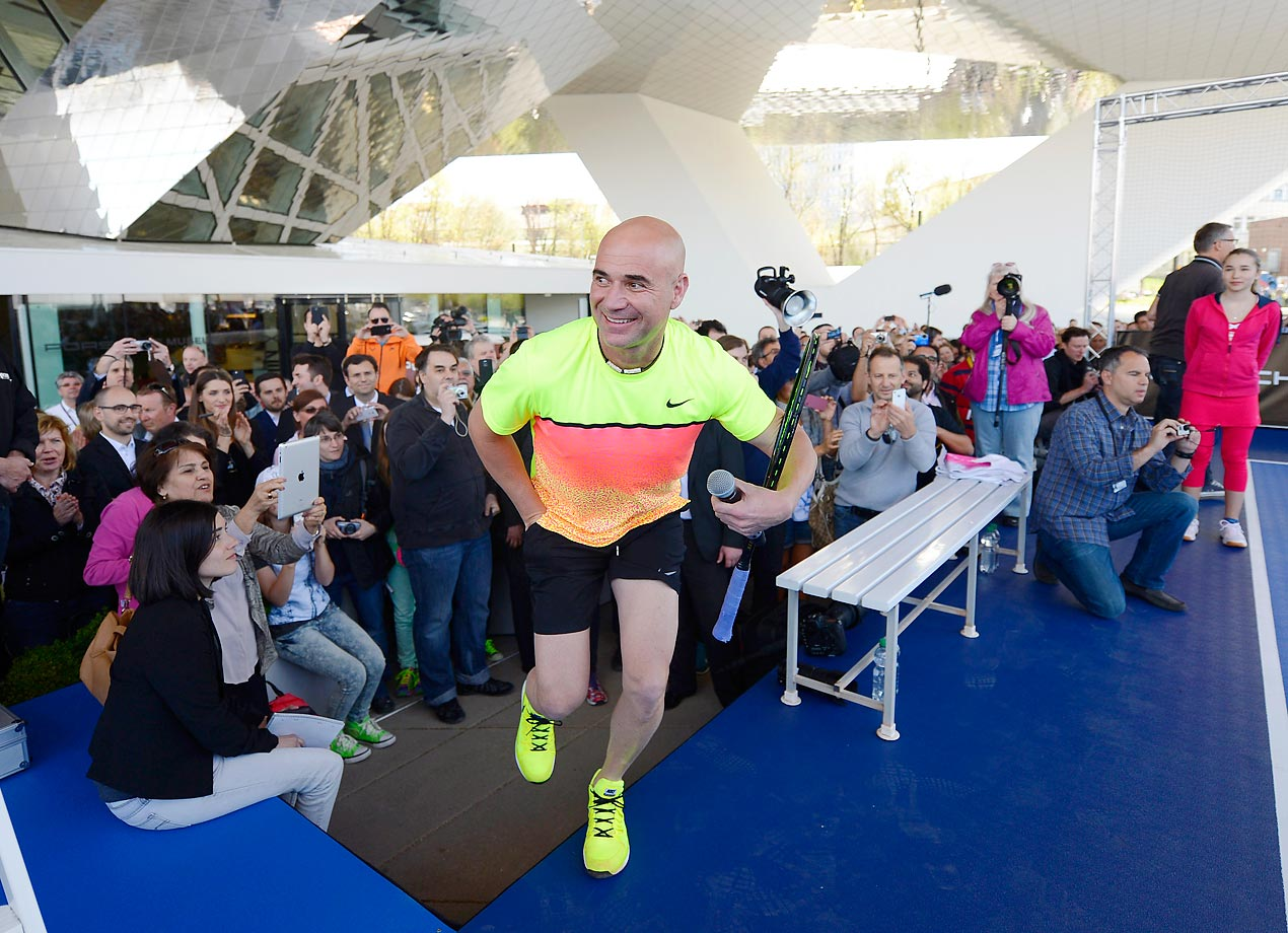 Andre Agassi prior to his show match against Maria Sharapova at the Porsche Grand Prix in Stuttgart, Germany.