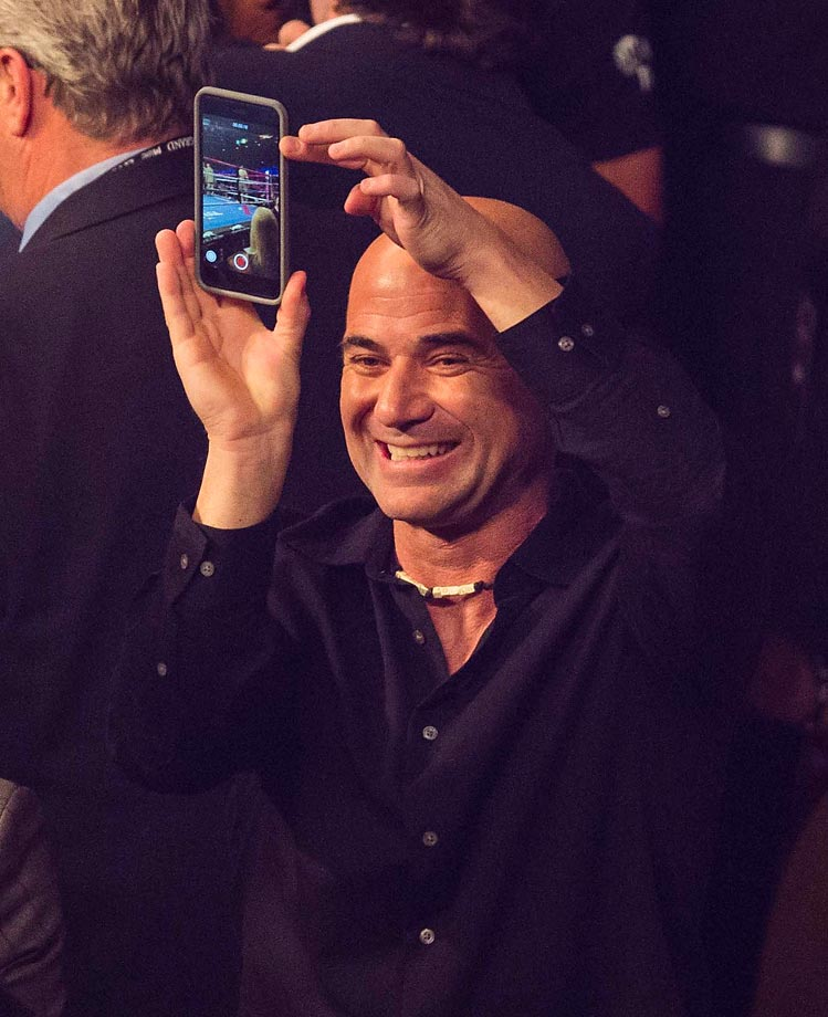 Andre Agassi at the Mayweather vs. Pacquiao fight.