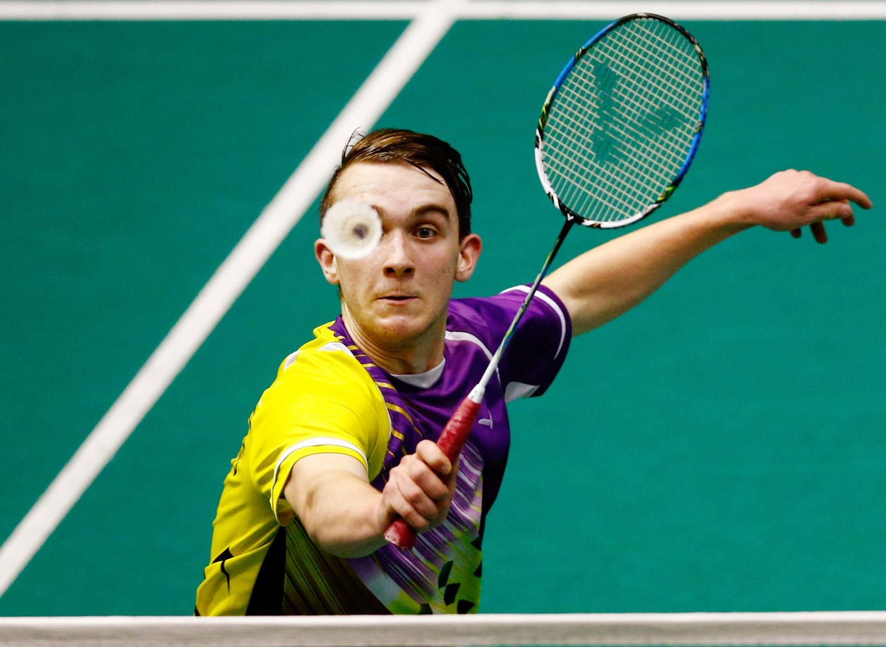 Andrew Rouse plays a return during his qualifiaction match at the 2015 Badminton Open in New Zealand.