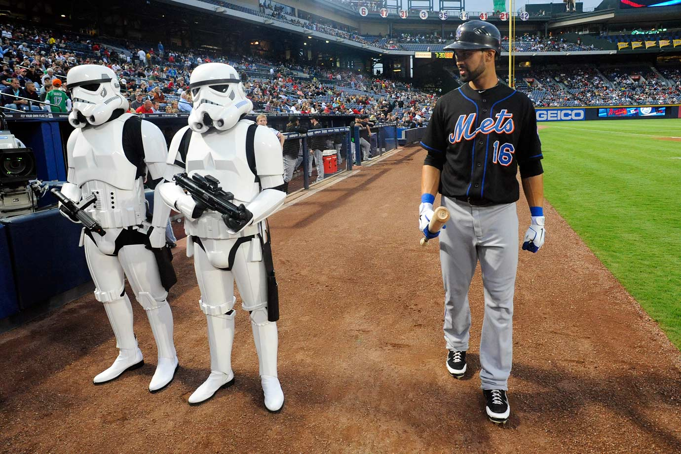 New York Mets center fielder Angel Pagan passes two stormtroopers before the start of the Mets game against the Atlanta Braves on Sept. 16, 2011 at Turner Field in Atlanta.