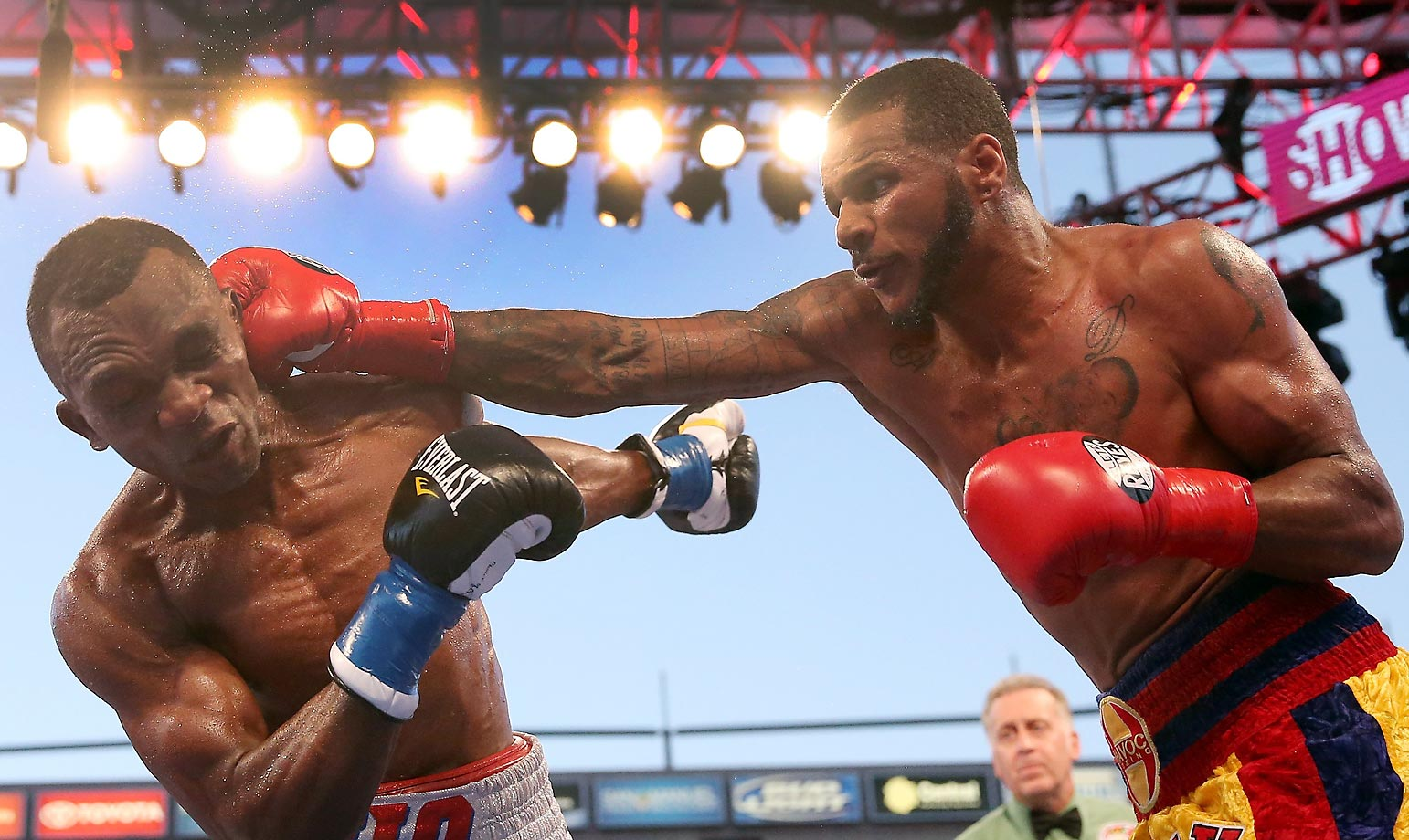 Anthony Dirrell lands a punch on Sakio Bika in their WBC super middleweight world championship bout. Dirrell won by unanimous decision.