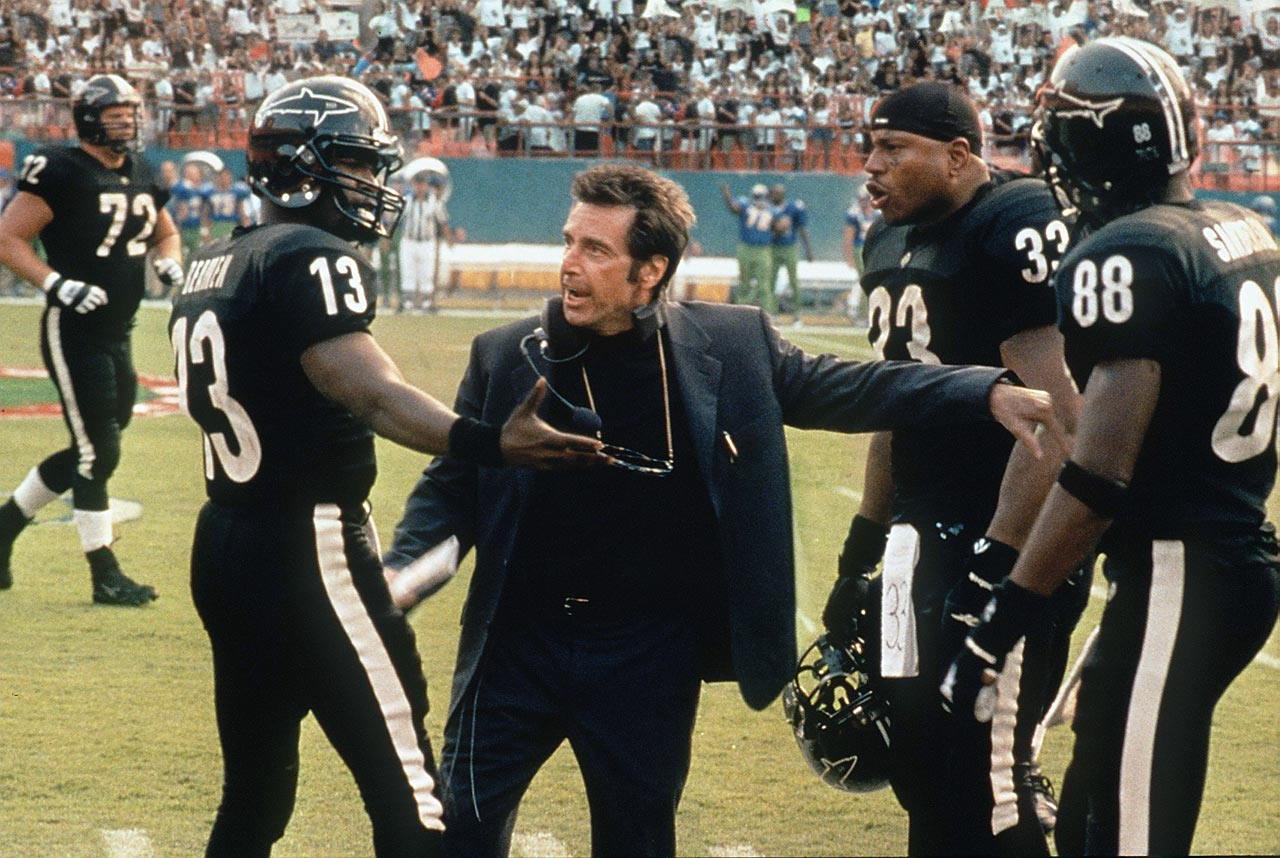 The NFL prudently declined to lend its name and logos to Oliver Stone's 1999 film ''Any Given Sunday,'' so the movie created a fictional football league, the Associated Football Franchises of America (AFFA), with the Miami Sharks as its focal point. The Sharks owner and GM, Christina Pagniacci (Cameron Diaz) repeatedly butts heads with head coach Tony D'Amato (Al Pacino) as he leads a roster that includes quarterbacks ''Steamin'' Willie Beamen (Jamie Foxx) and Jack ''Cap'' Rooney (Dennis Quaid), running back Julian ''J-Man'' Washington (LL Cool J), linebacker Luther ''Shark'' Lavay (Lawrence Taylor), defensive coordinator Montezuma Monroe (Jim Brown), and wide receiver Terrell Owens as himself.