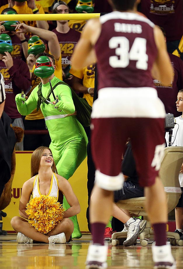 An Arizona State Sun Devils fan does his best to distract Tyler Davis of Texas A&M.