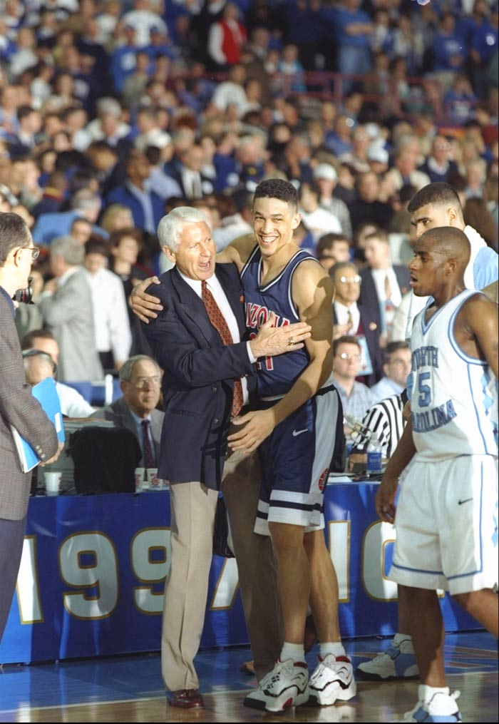 1997: No. 4 Arizona defeats No. 1 North Carolina 66-58 in a national semifinal.