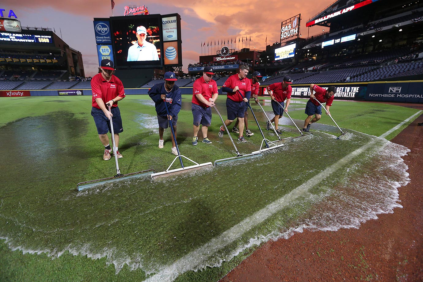 The outfield is flooded after a downpour at Turner Field in Atlanta.