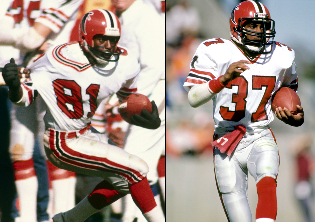 The Falcons made two 21-point comebacks in 1983. Against the Jets, Atlanta trailed by three touchdowns in the third quarter before Billy Johnson (left) found the end zone twice and the Falcons scored 27 straight points to close the game. A month later, against the Packers, Atlanta trailed 21-0 in the second quarter. But Kenny Johnson (right) returned two interceptions for touchdowns -- the first tied the game, the second won it in overtime.