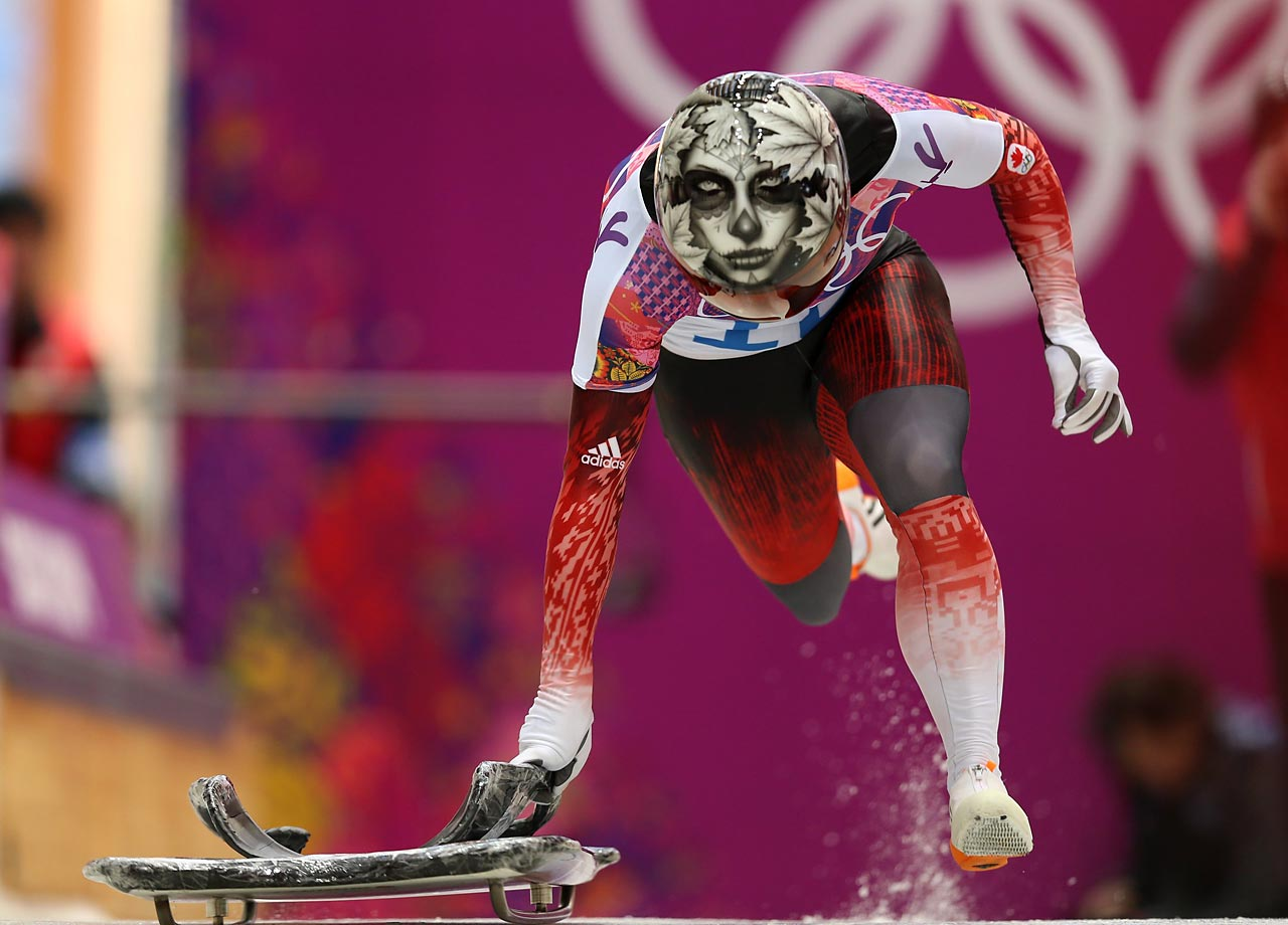 Sarah Reid of Canada gets her run going in the Skeleton.