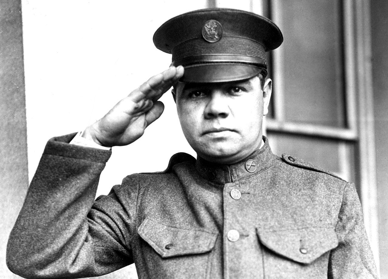 Babe Ruth salutes in his National Guard uniform circa 1924.