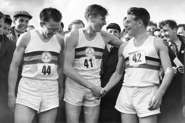 Chris Brasher, Roger Bannister and Chris Chataway celebrating after breaking the four-minute mile in 1954.