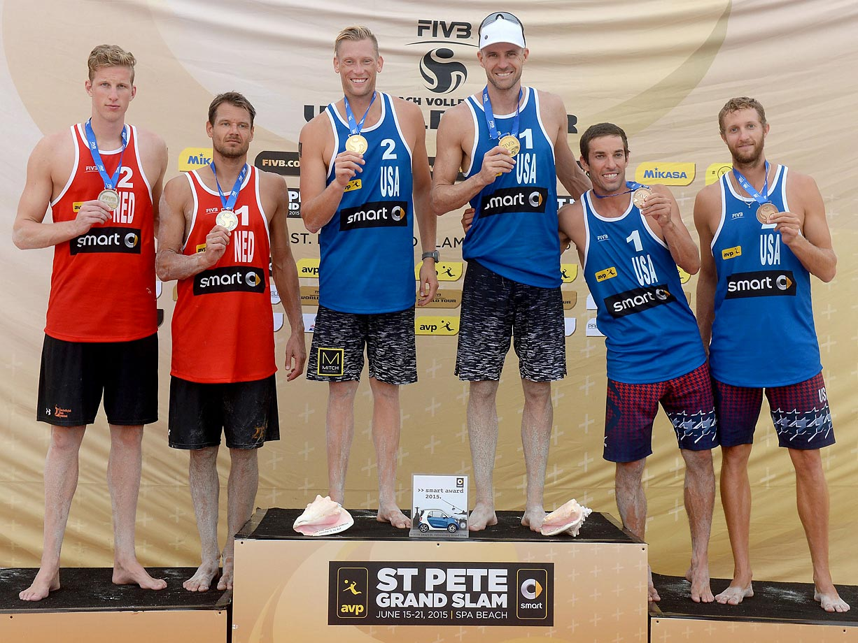General view of podium for the men's final (from left): Silver medalists Christian Varenhorst and Reinder Nummerdor of the Netherlands, gold medalists Casey Patterson and Jake Gibb of the U.S. and bronze medalists Nick Lucena and Theodore Brunner of the U.S.
