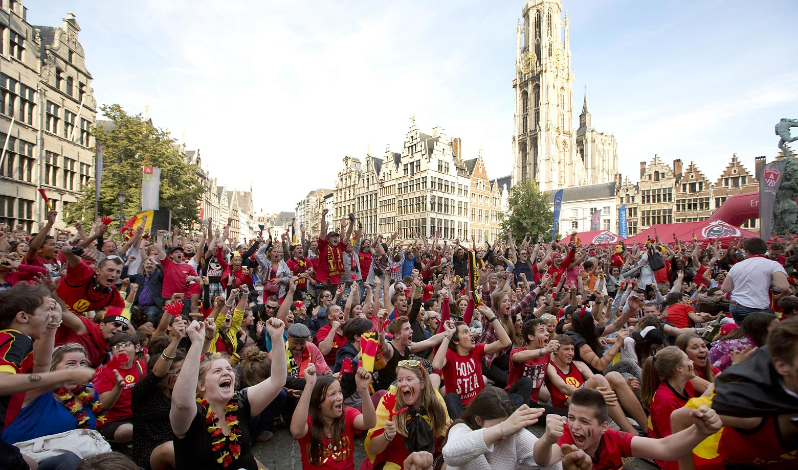 Belgian fans watch on a giant screen in the Grote Markt in Antwerp, Belgium.