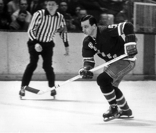 Bernie 'Boom Boom' Geoffrion skates up the ice during an NHL game circa 1966 at the Madison Square Garden. Geoffrion claimed to have invented the slapshot back in the 1950s.