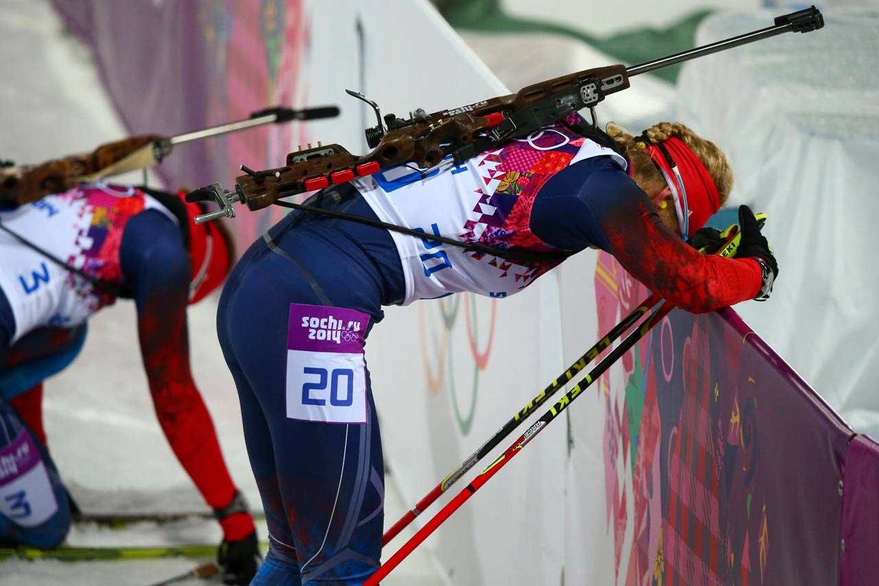 An exhausted Olga Zaitseva of Russia at the end of the women's 12.5 km Mass Start.