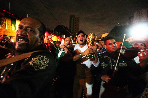 Fans and partygoers celebrate in the streets of Natal after the first week of World Cup soccer comes to a close.