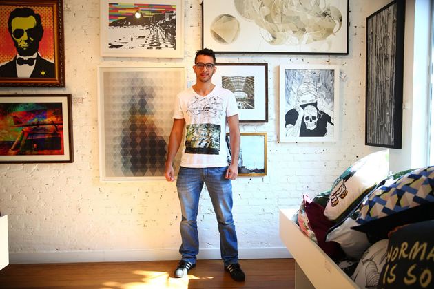 Tiago Aramayo works in the Urban Art Gallery in the Vila Madalena area of Sao Paulo, Brazil.