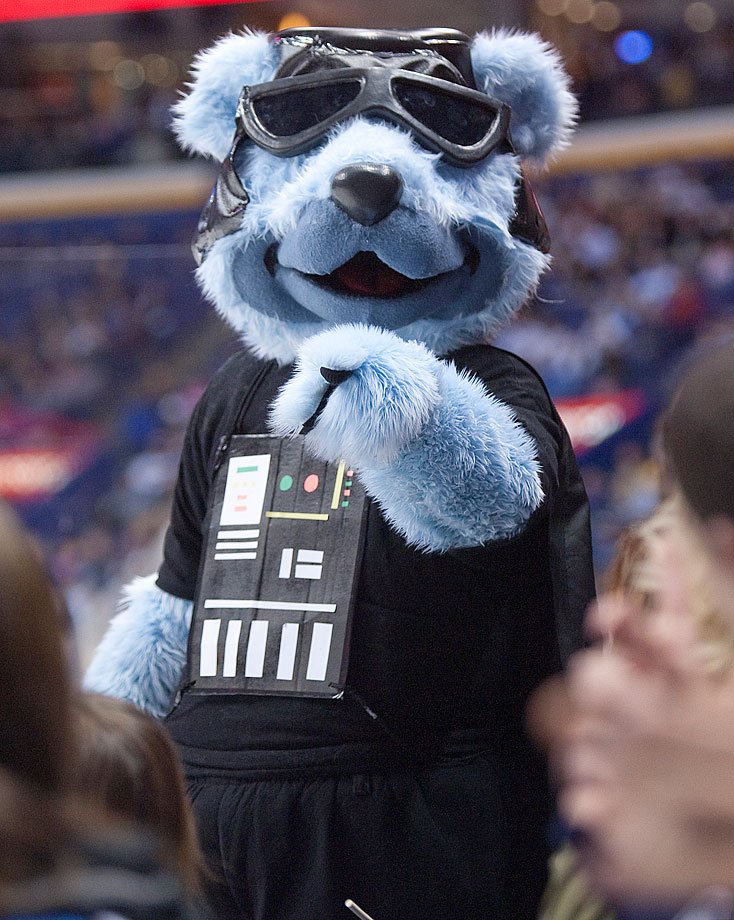 """St. Louis Blues mascot Louie dresses as Darth Vader for """"Star Wars Night"""" during the Blues game against the Colorado Avalanche on Dec. 7, 2009 at Scottrade Center in St. Louis."""