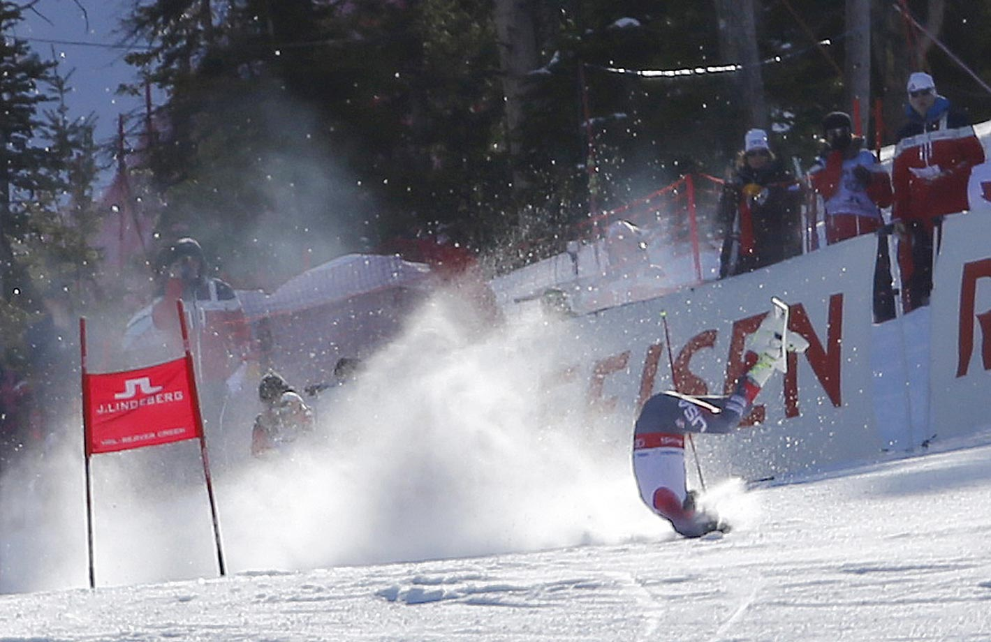 Bode Miller crashes in the super-G at the world championships.